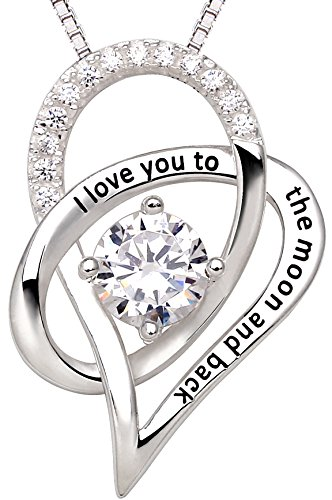 ALOV Jewelry Sterling Silver I Love You To The Moon and Back Love Heart Cubic Zirconia Pendant Necklace by ALOV (Image #6)