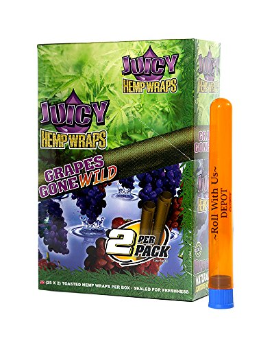 Juicy Hemp Wraps Grapes Gone Wild (25 Packs, 2 Wraps Per Pack) Includes Display Box and Roll With Us Doobtube (Juicy Jay's)
