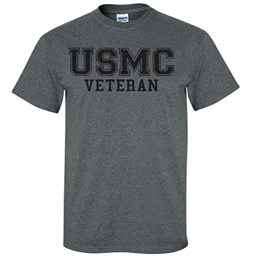 USMC Veteran Black Logo Athletic Marines Short Sleeve T-Shirt in Dark Heather - X-Large