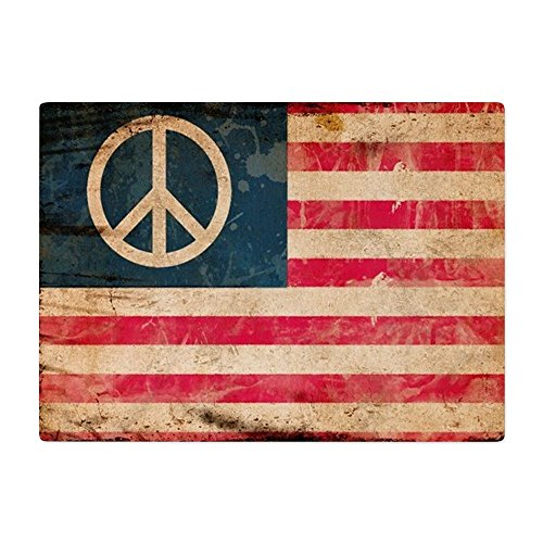 - Glass Cutting Board Large Worn US Flag with Peace Symbol Sign