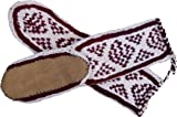 Mukluk Slippers with Leather Sole- White with a Second Color, Size Small