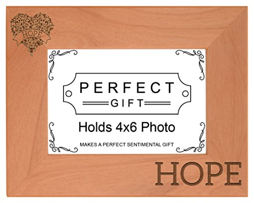 Breast Cancer Awareness Hope Heart Support Natural Wood Engraved 4x6 Landscape Picture Frame ()