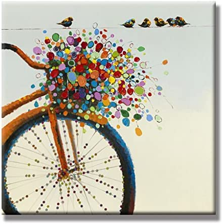 UAC WALL ARTS 100 Hand Painted Premium Thick-Wrap Canvas Wall Art Colorful Flower Bicycle on Canvas 32×32 Inch
