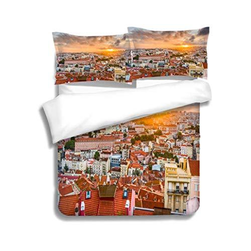 VROSELV-HOME Full/Queen Size Quilt Bedding Set,Lisbon Portugal City Skyline,Soft,Breathable,Hypoallergenic,Kids Bedding - Double Brushed Microfiber