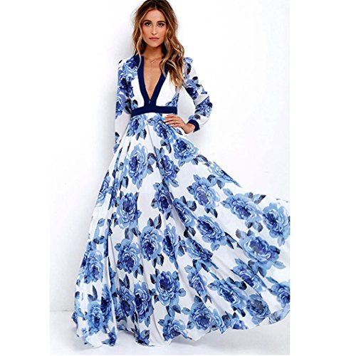 TOTOD Womens Long Maxi Princess Party Dress Fashion Ladies Boho Summer Print Dress (M, Blue) -