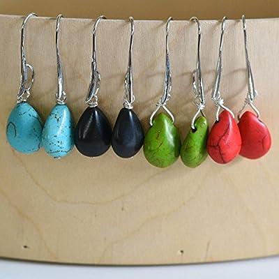 Women's Semi Precious Stone Teardrop Dangel Earrings Handmade Zambia Africa Fair Trade Jewelry