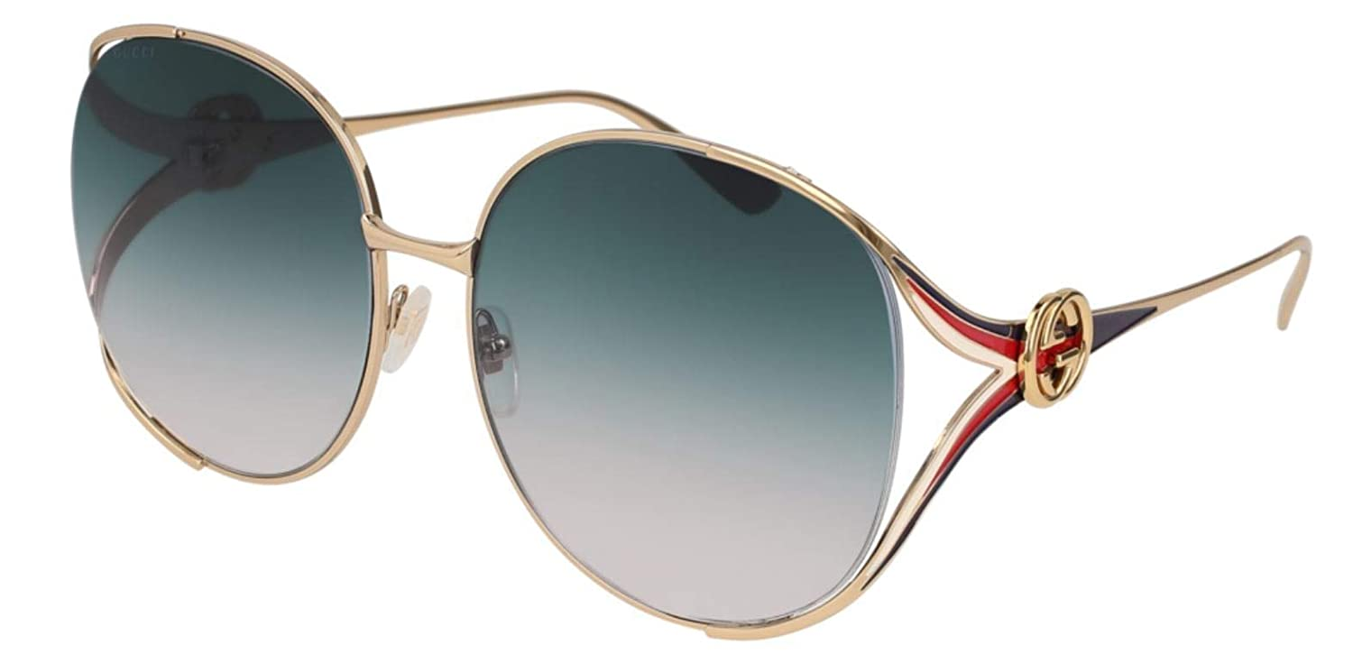 aba51b61c3b Amazon.com  Gucci sunglasses (GG-0225-S 004) Gold - Blue - Blue Grey  Gradient lenses  Clothing