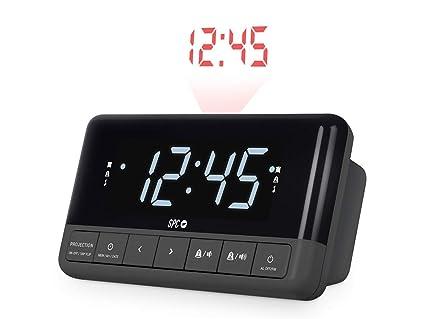 SPC Floki MAX Radio Despertador FM con proyector, Pantalla LED de 4,3 Pulgadas y Dos alarmas configurables