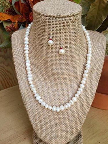 Sumptuous Pearl Necklace with Garnet & Pearl Earrings - Sheer Elegance