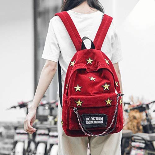 A Moda Per Ploekgda Alla Borsa color Forma Brown Borse Viaggio Grande Zaino Red Posteriore Donna Stella Con Di Da 0ARqRxE4w