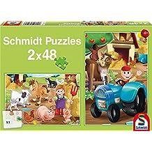 SCHMIDT Child 2 X 48 Farm Animals Puzzle, 48-Piece
