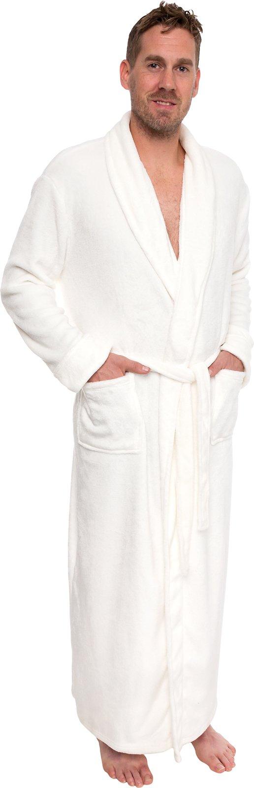 Ross Michaels Mens Long Robe - Full Length Big & Tall Bathrobe (White, L/XL)