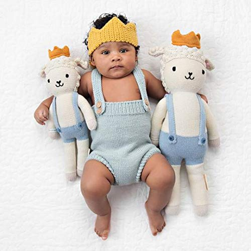 """CUDDLE + KIND Sebastian The Lamb Little 13"""" Hand-Knit Doll – 1 Doll = 10 Meals, Fair Trade, Heirloom Quality, Handcrafted in Peru, 100% Cotton Yarn"""