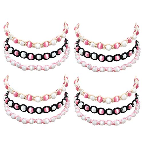 Eye Cat Necklace Choker (12 Pcs Handmade Braided Choker Necklaces for Women with Round Cat's Eye Beads and Cotton Cord - Adjustable - Can Be Worn as Wrap Around Bracelets - Quality Fashion Jewelry - Great Party Favors)