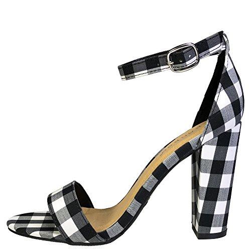 Sandalo Con Tacco Grosso In Bambù Da Donna Con Cinturino Alla Caviglia In Tessuto Ginham Nero
