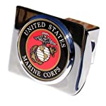 US Marine Corps Seal Chrome Metal Trailer Hitch Cover with Metal Logo