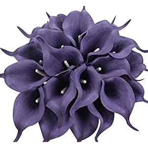 Duovlo 20pcs Calla Lily Bridal Wedding Bouquet Lataex Real Touch Artificial Flower Home Party Decor (Purple) 24