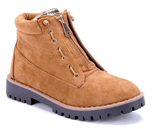 cm Stiefeletten Boots Damen 3 Schuhtempel24 Camel Stiefel Schuhe Blockabsatz z0UxwZfA