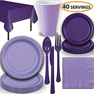Disposable Party Supplies, Serves 40 - Lavender and Purple - Large and Small Paper Plates, 12 oz Plastic Cups, heavyweight Cutlery, Napkins, and Tablecloths. Full Two-Tone Tableware Set
