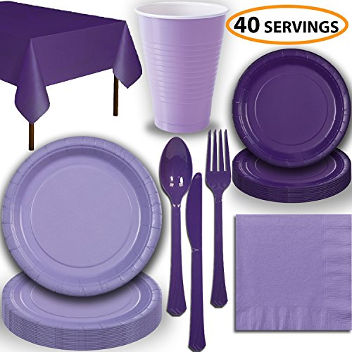 Disposable Party Supplies, Serves 40 - Lavender and Purple - Large and Small Paper Plates, 12 oz Plastic Cups, Heavyweight Cutlery, Napkins, and Tablecloths. Full Two-Tone Tableware -