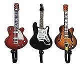 TtoyouU Set of 3 Creative Guitar Design Metal Resin Decorative Wall Mounted Storage Hooks for Hanging Coats Handbags Keys(Guitar)