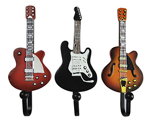 TtoyouU Set of 3 Creative Guitar Design Metal Resin Decorative Wall Mounted Storage Hooks for Hanging Coats Handbags Keys(Guitar) (Resin Metal)