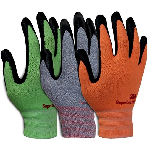 3M Super Grip Garden Work Gloves- 3 PACK (Extra Large) by 3M Super Grip