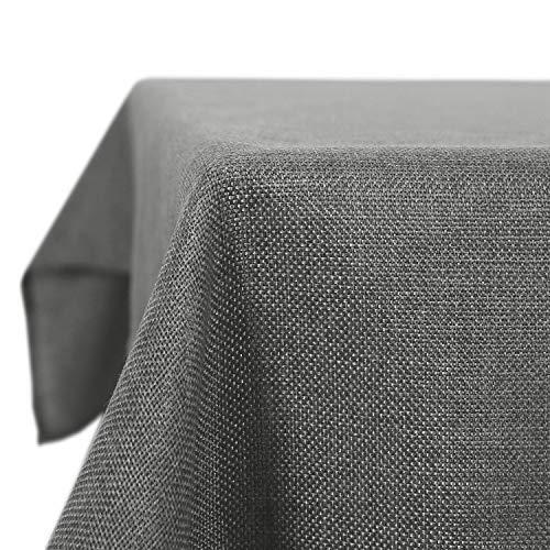 Deconovo Mantel Mesa Rectangular para Comedor Cocina o Salon Efecto Lino 137 x 274 cm Gris