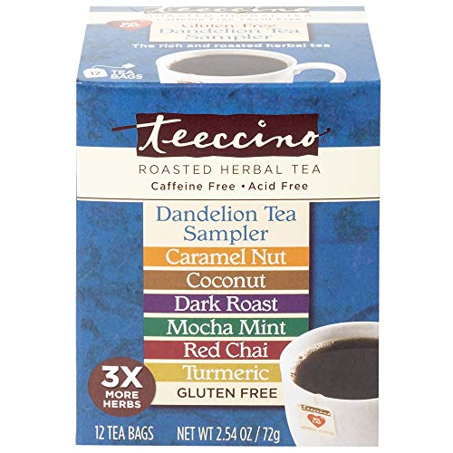 (Teeccino Dandelion Roasted Herbal Tea Sampler Pack (Caramel Nut, Coconut, Dark Roast, Mocha Mint, Red Chai, Turmeric), Caffeine Free, Gluten Free, Acid Free, Coffee Substitute, Prebiotic, 12 Tea Bags)