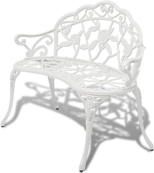 SHENGFENG Banco de Jardín Blanco, Aluminio + Patas de Hierro, Banco para Sentarse Banco Exterior 100 x 54 x 80 cm: Amazon.es: Jardín