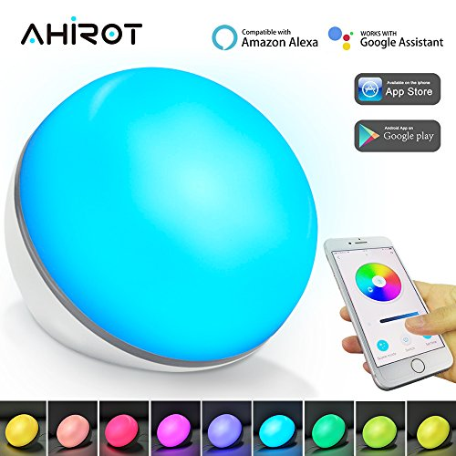 AHIROT Smart Night Light Compatible with Amazon Alexa Google Home Wifi Controlled, LED Dimmable Ambient Table Lamp Multicolored Colors Change for Home Bedside World Cup