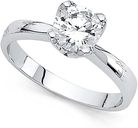 Gemapex 14k Yellow Or White Gold Cz Solitaire Engagement Ring
