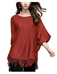 Panegy Women's Autumn Tassels Knit Pullover Sweater Solid Color Dolman Sleeve Shirts