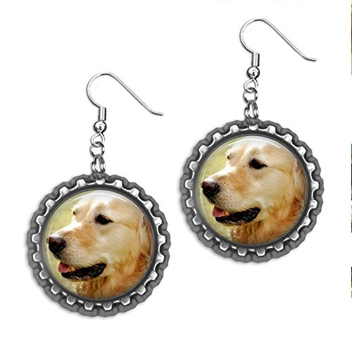 Golden Retriever Pets Cap - Golden Retriever Bottlecap Earrings