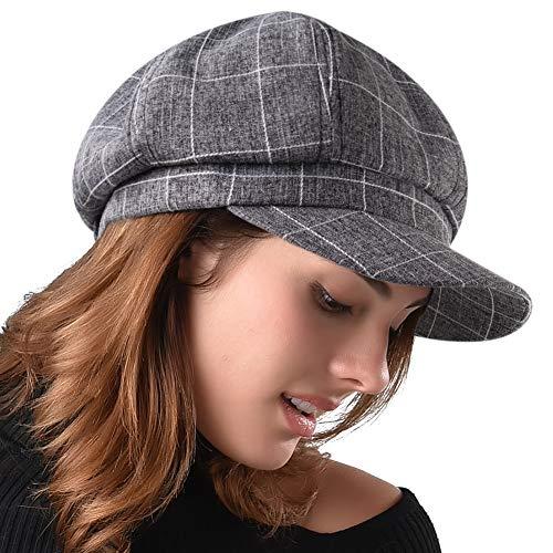 FURHATMALL Newsboy Cap for Women Spring Summer Thin Cotton Linen Gatsby Visor Hat