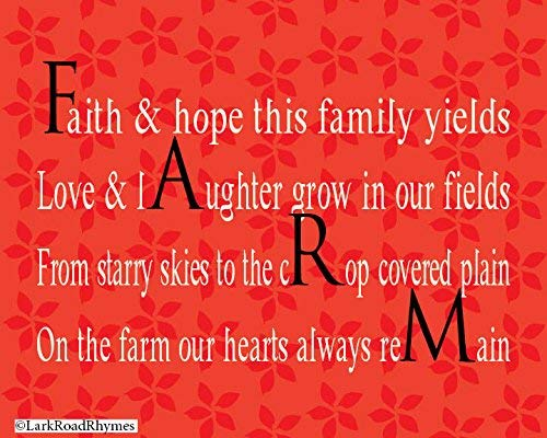 Short Farm Poems, 8x10 Glossy Photo Paper Print, Gifts For Farmers & Ranchers