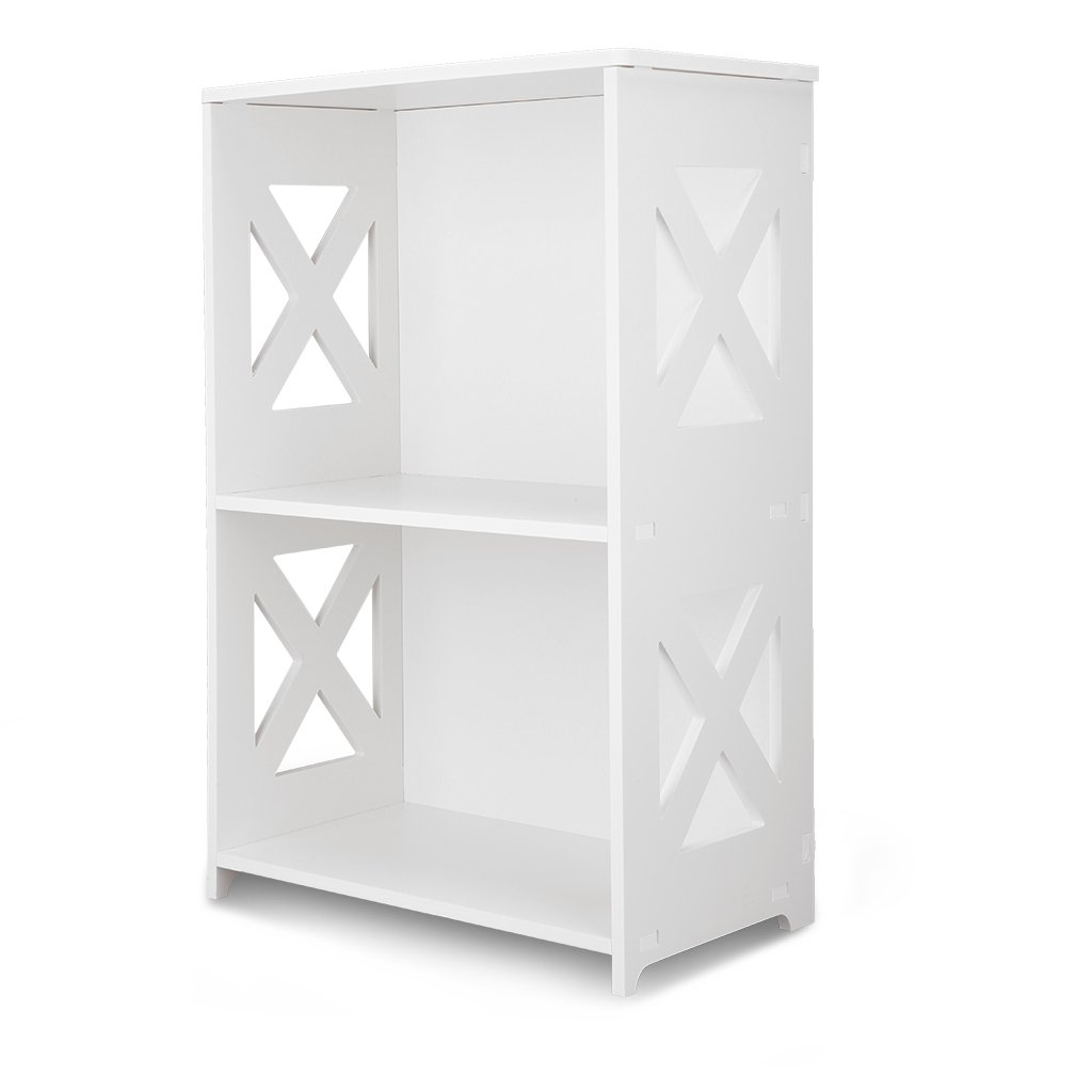 Finether 3 Tier White Cross Cut Out Wood Plastic Composite Shelf Unit  Bookcase Storage