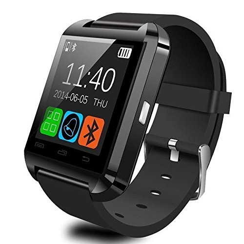 Bluetooth Smart Watch Fit for Samsung Galaxy S4/S5/S6 Edge Note 3/4/5 HTC Nexus Sony LG Huawei Android Smartphones (Black) (Black) by WorryFree Gadgets