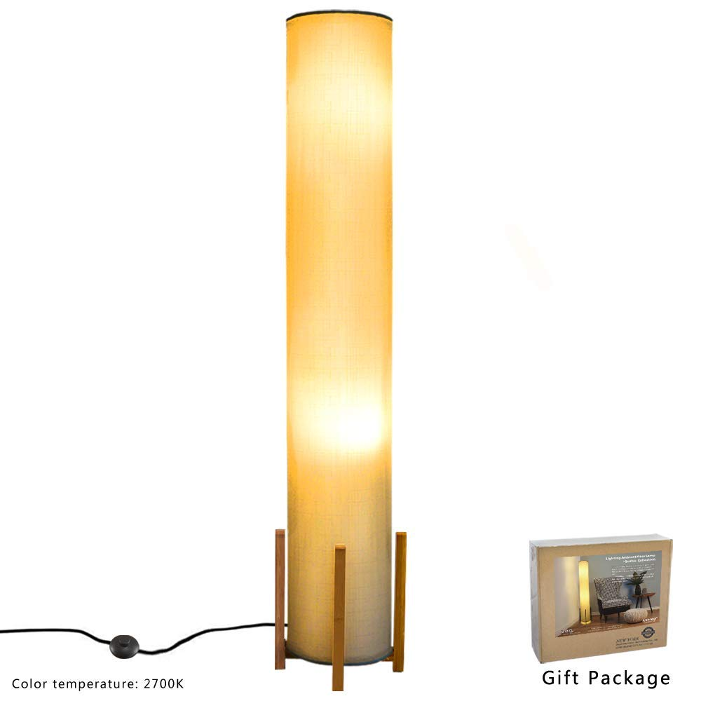 Floor lamp Wello Led Torchiere Floor lamp For Living Room - Tall Standing Lamp For Bedrooms office - Dimmable Modern Floor lamps – Asian Nature Bamboo Frame, Fabric Shade Light- White