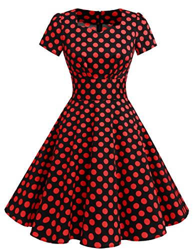 Black Corte Red Donne Vintage Dot Dresstells Cocktail 1950 Audrey Vestito Maniche Hepbun zwwq8vdn