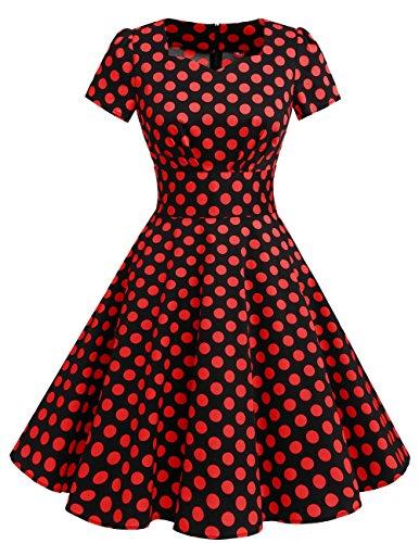 Retrò Dall'oscillazione Colore Audery Nero Da Abiti Punto Di Vestito Solido Vendemmia Maniche Rosso Dresstells 1950 Breve Ballo fPqRwwB