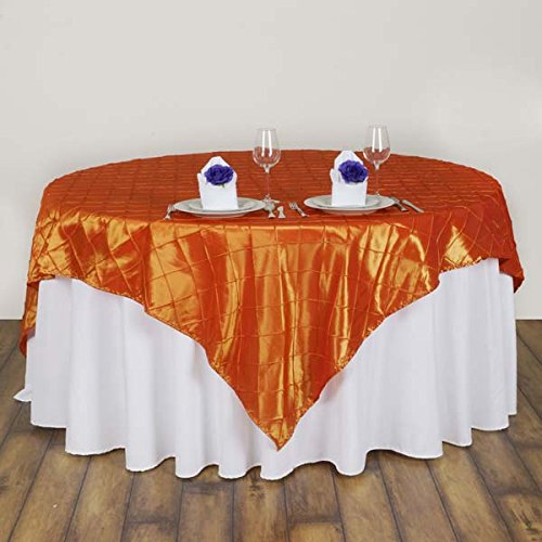Pintuck Square - Efavormart Orange Pintuck Square Tablecloth Overlay 85