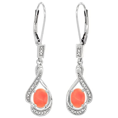 Image Unavailable. Image not available for. Color  14K White Gold Diamond Natural  Coral Leverback Earrings ... ac9020bb0f87