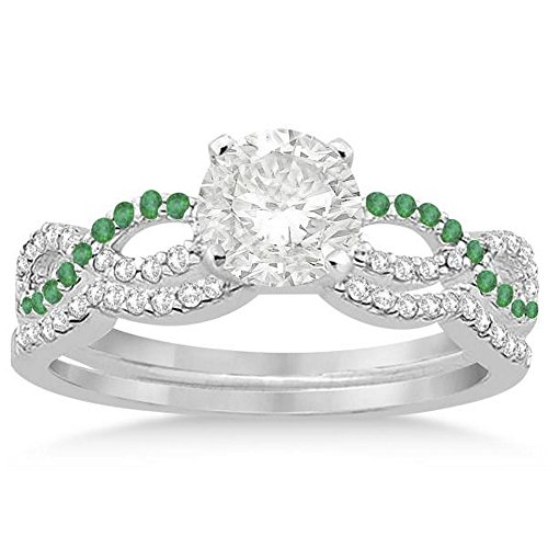 Infinity Twist Diamond and Emerald Engagement Ring and Diamond Contour Wedding Band Platinum (0.34ct) -
