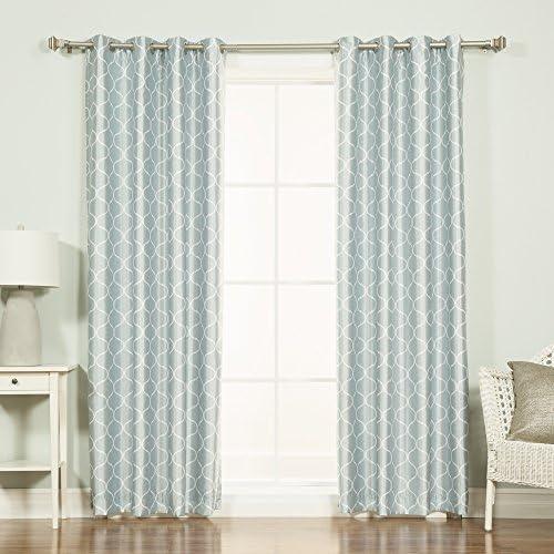 Best Home Fashion Quatrefoil Print Faux Silk Blackout Curtain Stainless Steel Nickel Grommet Top 52 W x 84 L, Porcelain Blue