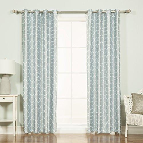 Best Home Fashion Quatrefoil Print Faux Silk Blackout Curtain - Stainless Steel Nickel Grommet Top - Porcelain Blue - 52