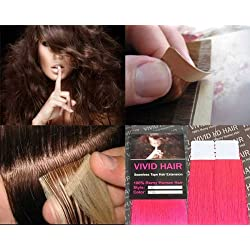 """10 Pcs X 22"""" Inches Long Remy Seamless Tape In Skin Weft Human Hair Extensions Color Fuchsia Hot Pink"""