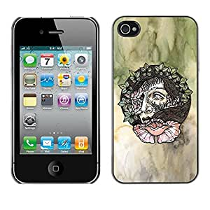 LECELL--Funda protectora / Cubierta / Piel For Apple iPhone 4 / 4S -- Wreath Artistic Art Green Watercolor --