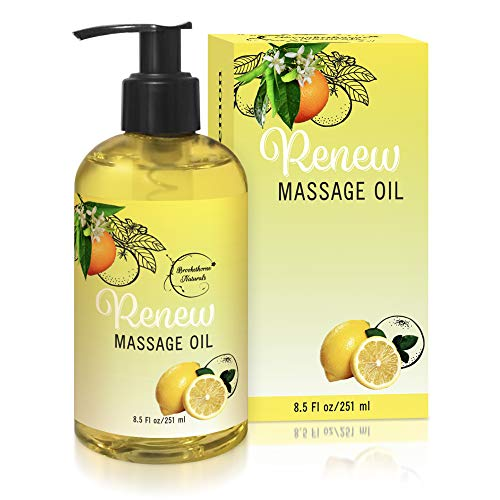 Renew Massage Oil with Orange, Lemon & Peppermint Essential Oils - Great for Massage Therapy or Home use. Ideal for Full Body - with Almond, Grapeseed & Jojoba Oils - By Brookethorne Naturals
