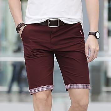 b39ba125166 WDDGPZ Pantalones Cortos De Playa/Verano Cortos Hombre Casual De Algodón  Con Dobladillo Plaid Pantalones